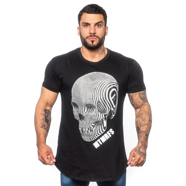 Camisa Long Skull 3D Preta