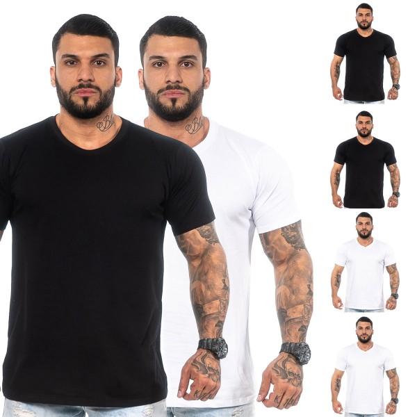 Kit 4 Camisas T-Shirt Lisas 2 Pretas 2 Brancas