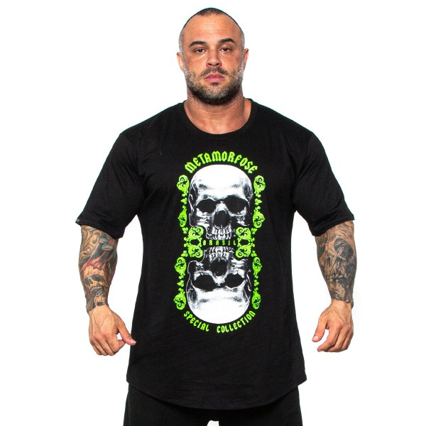 Camisa Monster Size Double Skull Preta