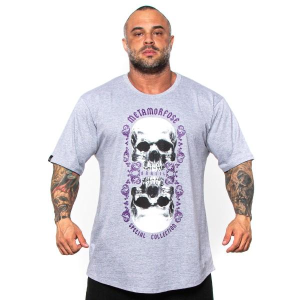 Camisa Monster Size Double Skull Cinza Mescla