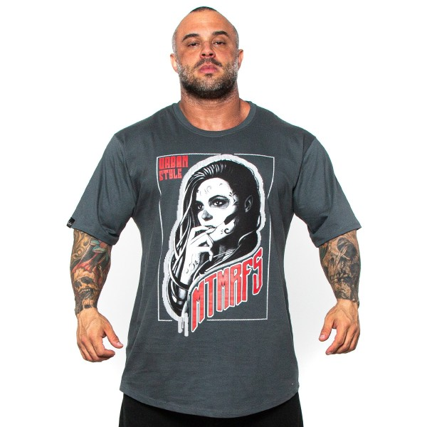 Camisa Monster Size Woman Tattoo Cinza Chumbo