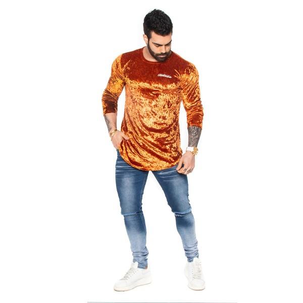 Blusa Long Velvet Orange